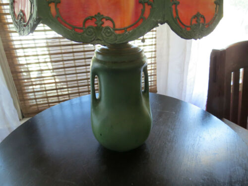 Antique Arts & Crafts Matte Green Pottery Lamp w/ Slag Glass Shade Weller Teco
