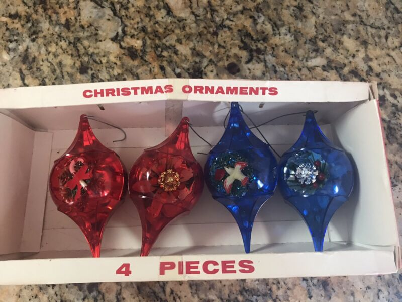 Vintage Christmas Jewelbrite Ornaments In Box