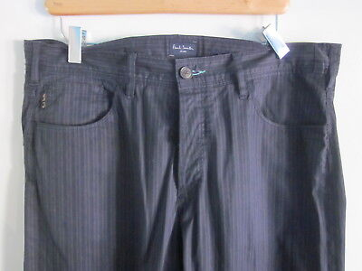 Paul Smith Mens Jeans Navy Striped Cotton Pants Size 34 Button Fly 29 Inseam