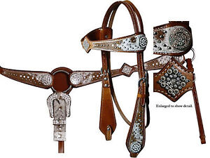 BLING Western Leather Bridle & Breast Collar Cowhide Set New Horse Tack