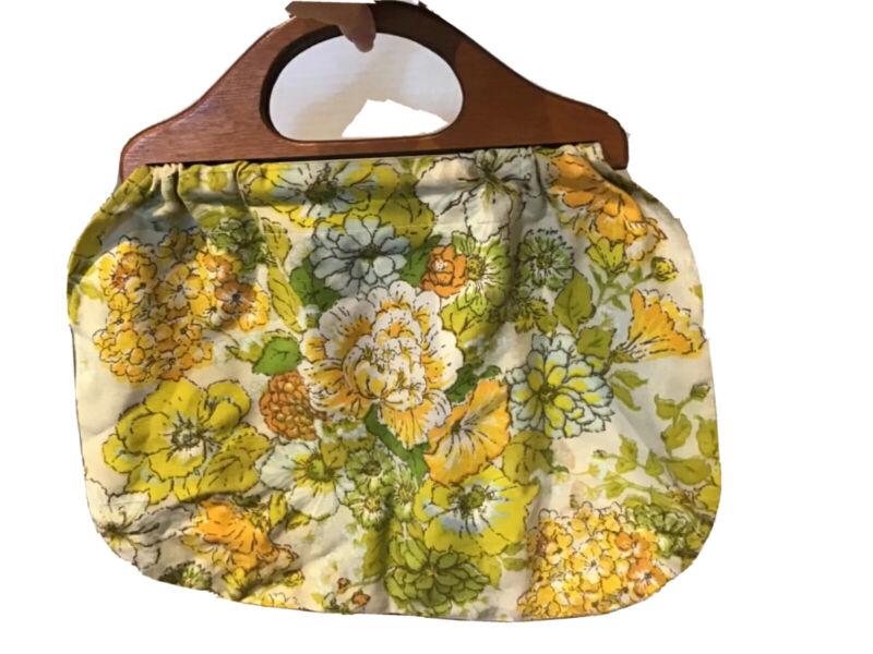 Vintage Knitting Sewing Bag Wood Handles 70s Era Fabric Tote
