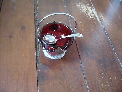 VINTAGE SUGAR BASIN AND SPOON DEEP RED GLASS WITH LEAF DESIGN AND...