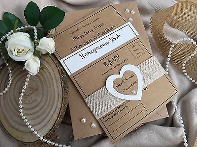 Personalised Rustic/Vintage Wedding Invitation plus RSVP & Honeymoon Wish