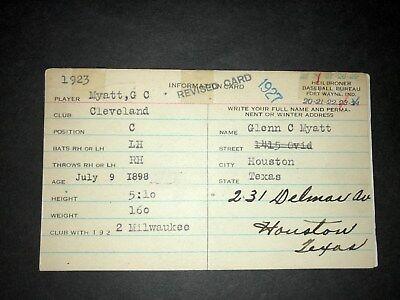 1920S Indians  Glenn Myatt  Handwritten Heilbroner 3X5  Decd