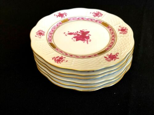 HEREND PORCELAIN CHINESE BOUQUET RASPBERRY DESSERT PLATES 516/1/2/AP (6pcs.)