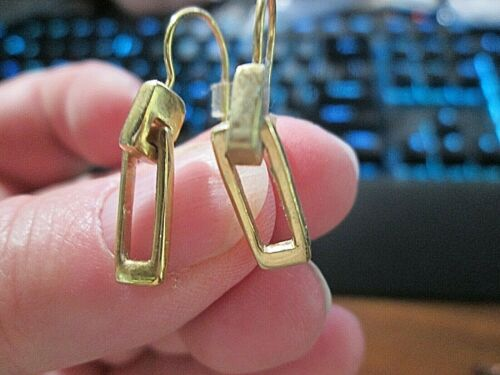 """Rectangle Goldtone Dangle earrings, about 1"""" Length~ Go with lots of things"""