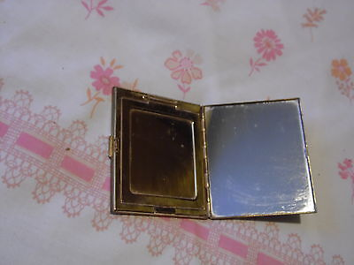 Vintage 1940's brass face powder compact, square 3-level  slimline heavy brass