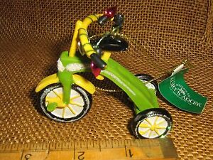 Kurt Adler GREEN Tricycle w Christmas Lights for Tree Ornament NEW