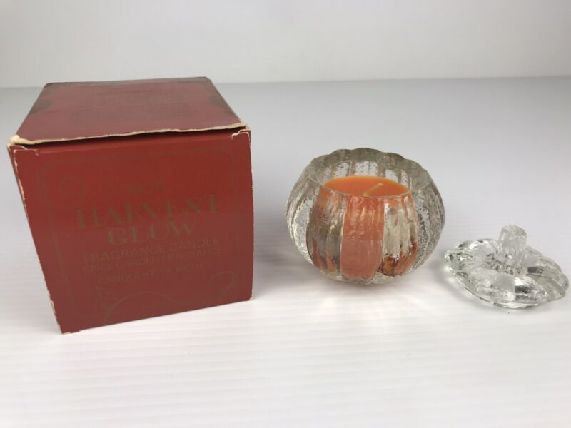 Harvest Glow Heavy Pumpkin Clear Glass Container with Spice Garden Smell Candle