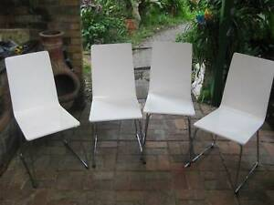 4 x Dining Chairs  - Freedom Furniture Prism Dining Chairs(White)Solid