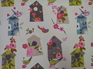 Clarke-and-Clarke-Birdhouse-Natural-Birds-Curtain-Craft-Upholstery-Fabric