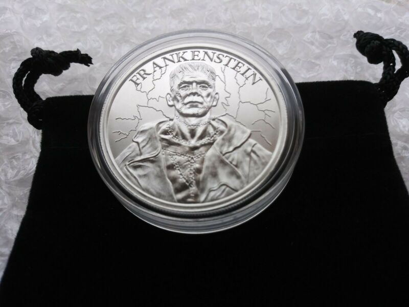 1 oz Fine Silver .999 Frankenstein Monster Round with Capsule and Coin Pouch