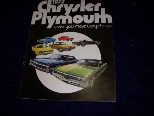 1972 Chrysler Plymouth Dealer Sales brochure
