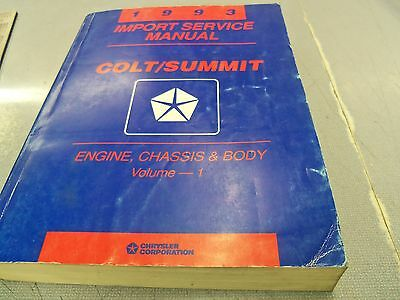 1993 DODGE COLT EAGLE SUMMIT DEALER SERVICE SHOP REPAIR MANUAL