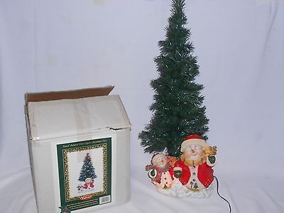 "Hand-Painted Fiber-Optic Color Changing Snowman Christmas tree 29"" tall 2003"