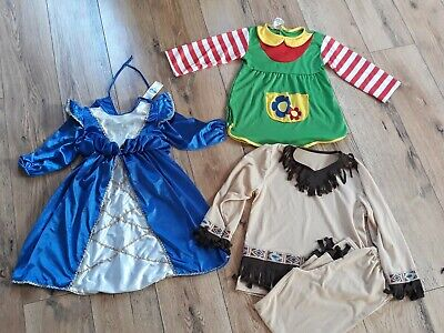 3 Karnevalskostüme für Mädchen, Prinzessin, Indianerin, Pippi Langst., 4-6 Jahre