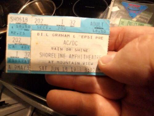 AC/DC   vintage original concert  ticket stub   1988  Mountain View CA