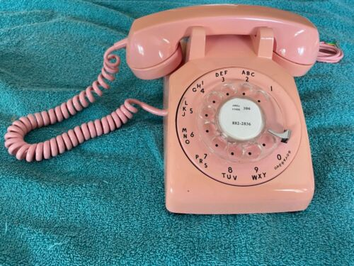 Rare Beautiful Vintage Desk Phone - Original 1960's 1970's Pink Rotary Telephone
