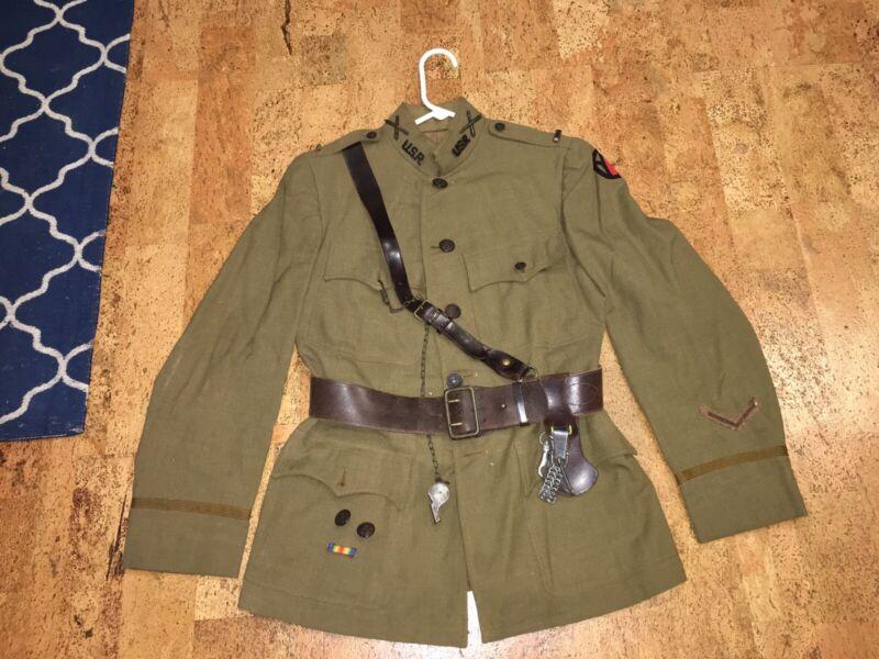 ww1 ww2 1st Lieutenant's uniform Sam Brown belt sword whistle 89th Division