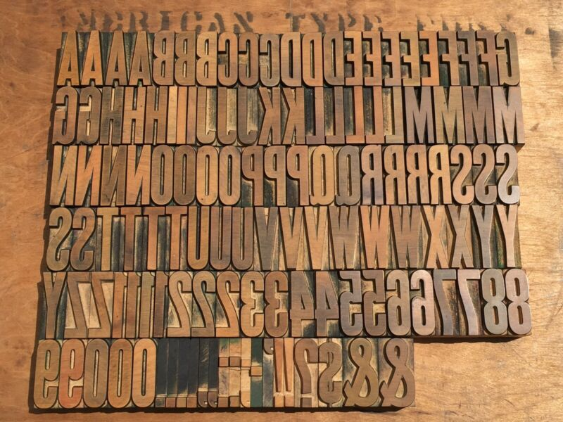 Large Antique VTG Wood Letterpress Print Type Block A-Z Letters #'s Complete Set