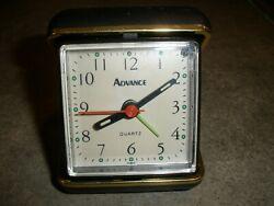 Vintage Advance battery powered Black Gold travel alarm clock Works  (H)