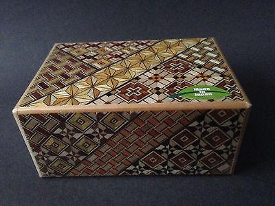 Japanese Wooden Samurai Yosegi Himitsu Puzzle Magic Trick Box 21 Steps HK-125