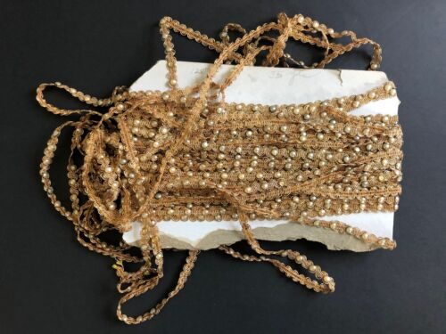 VINTAGE Metallic Gold Sewing Trim with Faux Pearls ANTIQUE Textile Edging