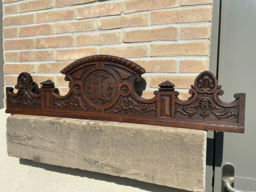 decorative antique castle monogram L K victorian Louis XVI ornate Wall Pediment