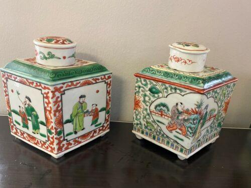 NICE PAIR CHINESE ENAMELED FAMILLE ROSE PORCELAIN TEA CADDIES, DIAMOND SHAPE