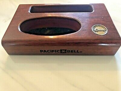 Vintage Pacific Bell Phone Telephone Co Wooden Desktop Business Card Holder Rare