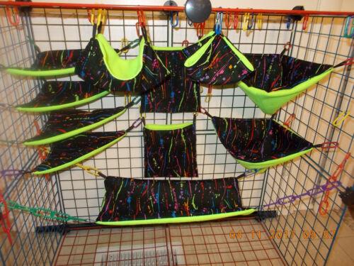 NEON  PAINT DRIPS  Sugar Glider 11 pc cage set