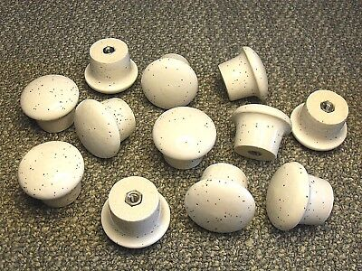 Lot of-12 round white porcelain cabinet / chest / drawer / door / pulls / knobs