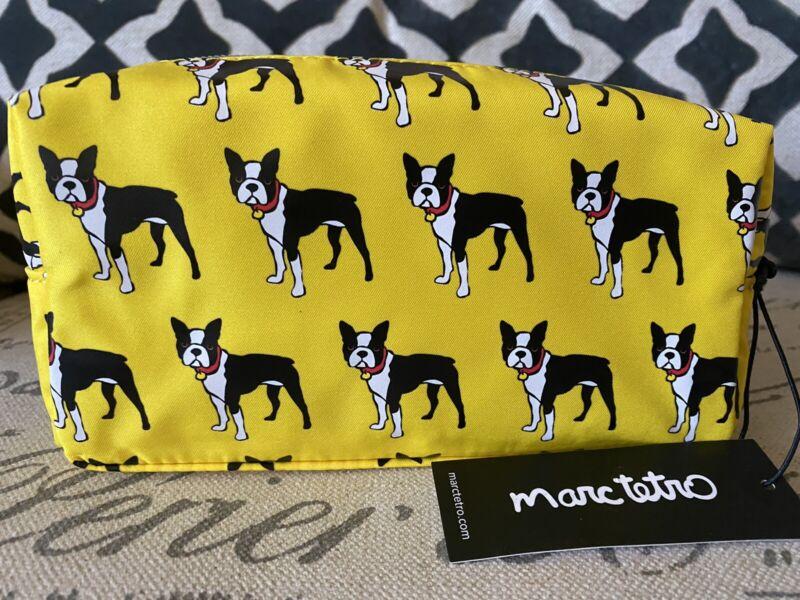 NEW Marc Tetro Boston Terrier Dog Cosmetic Makeup Bag Case Yellow Fabric Bag
