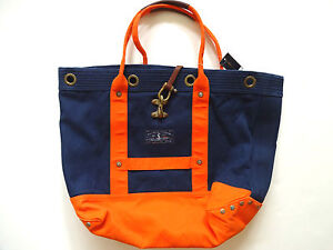 Ralph-Lauren-Polo-Navy-Blue-Orange-Nautical-Canvas-Tote-Bag