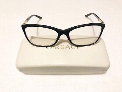 GENUINE Women's Versace VE3186 GB1 Eyeglasses Frames Black/Gold (Real Versace Glasses)