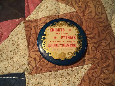 Antique 1905 Knights Of Pythias, Cheyenne, Wyoming Fraternal Celluloid Badge