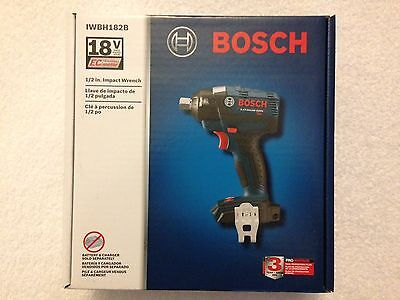 "New Bosch 18V IWBH182B 1/2"" EC Brushless 3 Speed Impact Wrench W Pin Detent NIB"