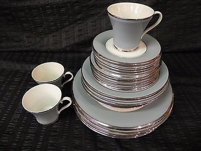 28 Piece Dinnerware Set Gray Blue Platinum Trim Signed Fine China Made in USA Fine China Platinum Dinnerware Set