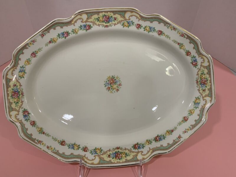 Vintage Pottery Serving Platter - Floral - Very Pretty