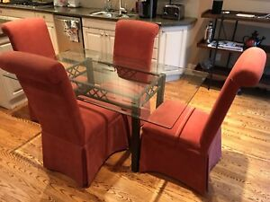 Glass top dining/kitchen table & 4 chairs