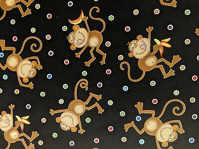 Timeless Treasures Fabrics by the 1/2 yard Black Silly Monkeys 07643