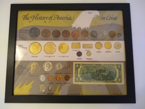1976 History of America in coins framed and mounted coin and currency collection