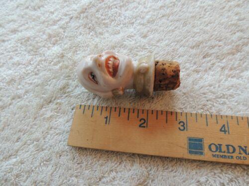 ANTIQUE PORCELAIN  BISQUE CLOWN HEAD BOTTLE STOPPER 6325, Germany, pours at Top