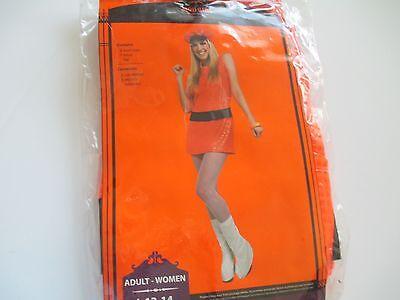 Mod Neon Orange Disco Girl Ladies Size Large 12-14 Halloween Costume Free Ship ()