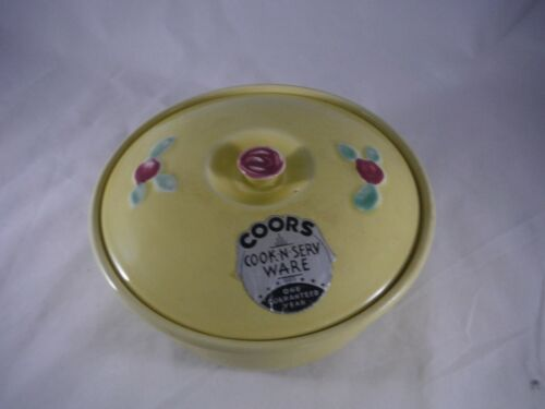 Vintage Coors Rosebud Yellow Casserole Baker Lid Medium Size Original Label