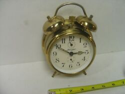 Vintage Jerger Brass Wind Up Double Bell Alarm Clock Germany working second hand