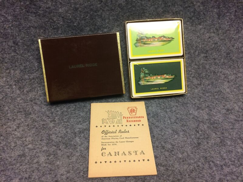 1950 PRR Pennsylvania Railroad Laurel Ridge Playing Cards 2 Deck Canasta Set NOS