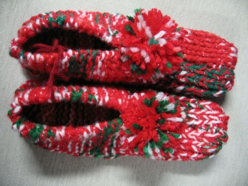 """New Amish Handmade House Slippers Red Sparkle Mix Wms Sm/Med Mans X SM 8 1/2"""""""