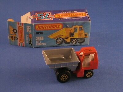 Lesney Matchbox 26 Site Dumper Red Body Yellow Hubs Toy Model Car Boxed