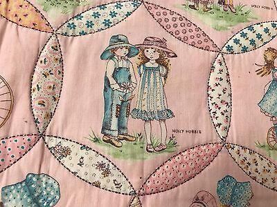 "VTG Quilted Blanket Holly Hobbie Pink Twin Bedspread Handmade 72"" x 82"""